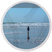 Paddling At Sandymouth Beach North Cornwall Round Beach Towel