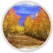 Painted Aspens Round Beach Towel