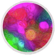 Painted Bokeh Impasto Pinkish Purple Round Beach Towel