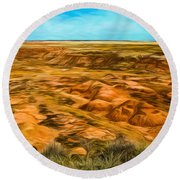 Round Beach Towel featuring the photograph Painted Desert Far View by Jon Burch Photography