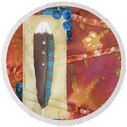 Painted Feather Round Beach Towel
