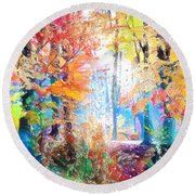 Painted Forest Round Beach Towel