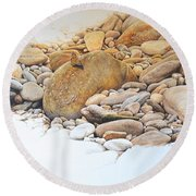 Round Beach Towel featuring the painting Painted Lady Butterfly by Alan M Hunt