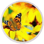 Painted Lady Butterfly Van Gogh Round Beach Towel