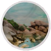 Painted Rocks At Full Tide Round Beach Towel