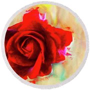 Painted Rose On Colorful Stucco Round Beach Towel