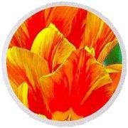 Painted Tulips Round Beach Towel