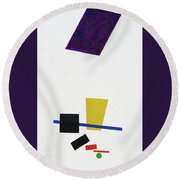 Painterly Realism Of A Football Player - Digital Remastered Edition Round Beach Towel
