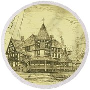 Pair Of Twin Cottages, Hastings Square, Spring Lake, Nj Round Beach Towel