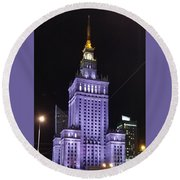 Palace  Of Culture And Science  Round Beach Towel