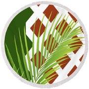 Palm Fronds And Trellis Round Beach Towel