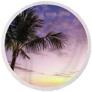 Palm In Paradise Round Beach Towel