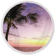 Round Beach Towel featuring the photograph Palm In Paradise by Emily Johnson