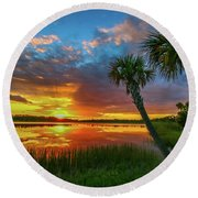 Round Beach Towel featuring the photograph Palm Tree Sunset by Tom Claud