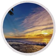 Palm Wave Sunset Round Beach Towel