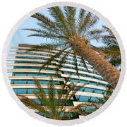 Round Beach Towel featuring the photograph Palms Of Dubai by SR Green