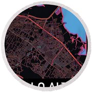 Palo Alto City Map Round Beach Towel