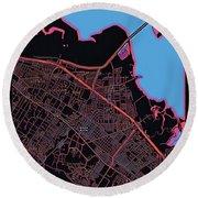 Palo Alto City Map Round Beach Towel