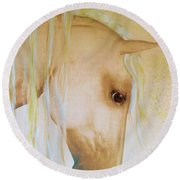 Round Beach Towel featuring the painting Palomino Head Study by Valerie Anne Kelly