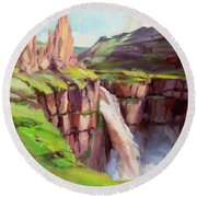 Round Beach Towel featuring the painting Palouse Falls Rush by Steve Henderson