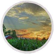 Panoramic Cornfield Sunset Round Beach Towel