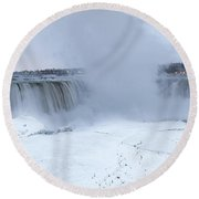Panoramic View Niagara Falls Round Beach Towel