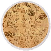 Paper Petal Patterns Round Beach Towel