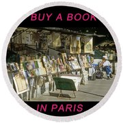 Paris Bookseller Round Beach Towel