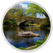 Round Beach Towel featuring the photograph Park Bridge2 by Stuart Manning