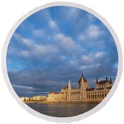 Round Beach Towel featuring the photograph Parliament On The Danube by Davor Zerjav