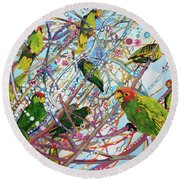 Parrot Bramble Round Beach Towel