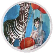 Round Beach Towel featuring the painting Party Of One Zebra Boy by Rene Capone