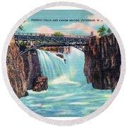 Passaic Falls And Chasm Bridge Paterson N J  Round Beach Towel