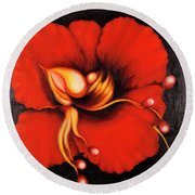 Passion Flower Round Beach Towel