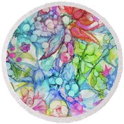 Pastel Flowers - Alcohol Ink Round Beach Towel