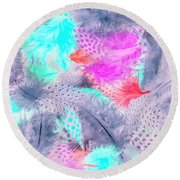 Pastel Plumes Round Beach Towel