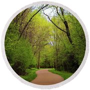 Path In The Forest Round Beach Towel