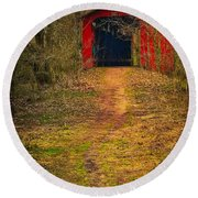 Path To Bridge Round Beach Towel