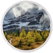 Pathway To The Mountains Round Beach Towel
