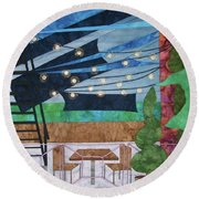 Patio At The Winds Round Beach Towel