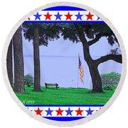 Patriotic Scene From Fairhope Alabama Round Beach Towel