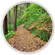 Round Beach Towel featuring the photograph Peaceful Autumn Trail At Watkins Glen State Park by Lynn Bauer