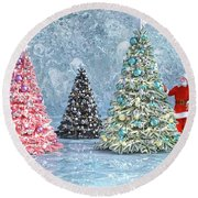 Peaceful Holiday Spirits Round Beach Towel