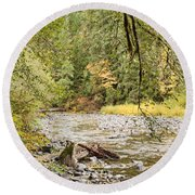 Round Beach Towel featuring the photograph Peaceful Molalla River by Brian Eberly