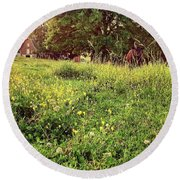 Peaceful Pastoral Perspective Round Beach Towel