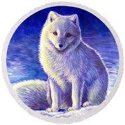 Peaceful Winter Arctic Fox Round Beach Towel