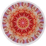 Peach Floral Mandala Round Beach Towel