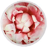 Round Beach Towel featuring the photograph Peach Peony by Emily Johnson