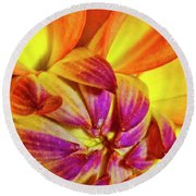 Peach Purple Flower Round Beach Towel