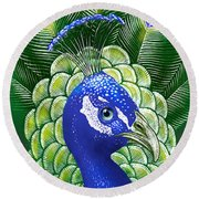 Peacock Round Beach Towel